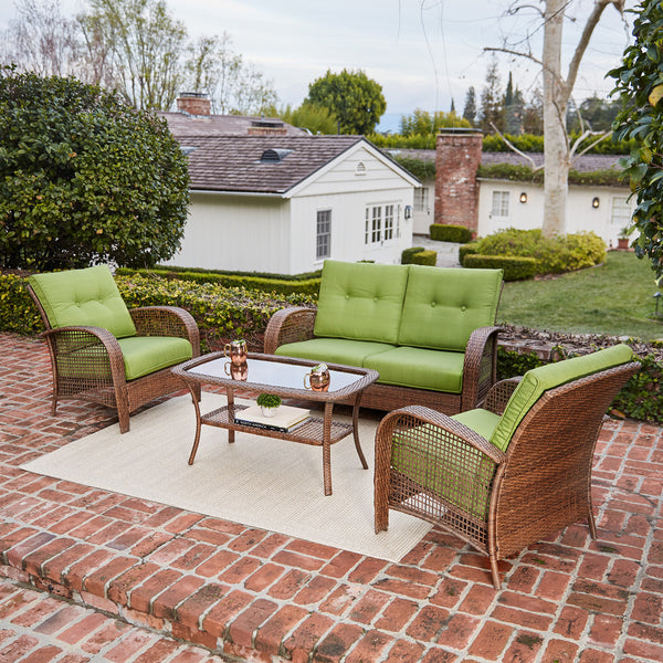 Willow Spring 4-Piece Patio Wicker Cushion Conversation Set