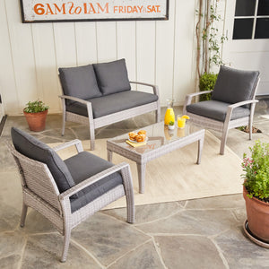 Urban Space 4-Piece Patio Wicker Cushion Conversation Set