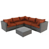 Becket 6 piece wicker sectional conversation set with cushions