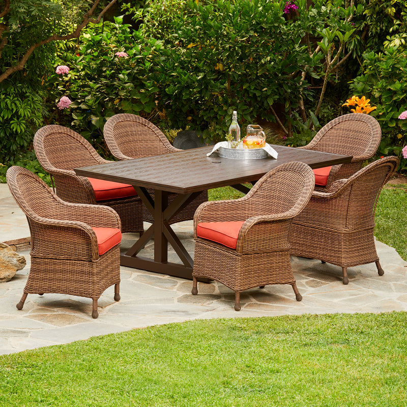 Hacienda Heights 7pc Wicker Dining Set