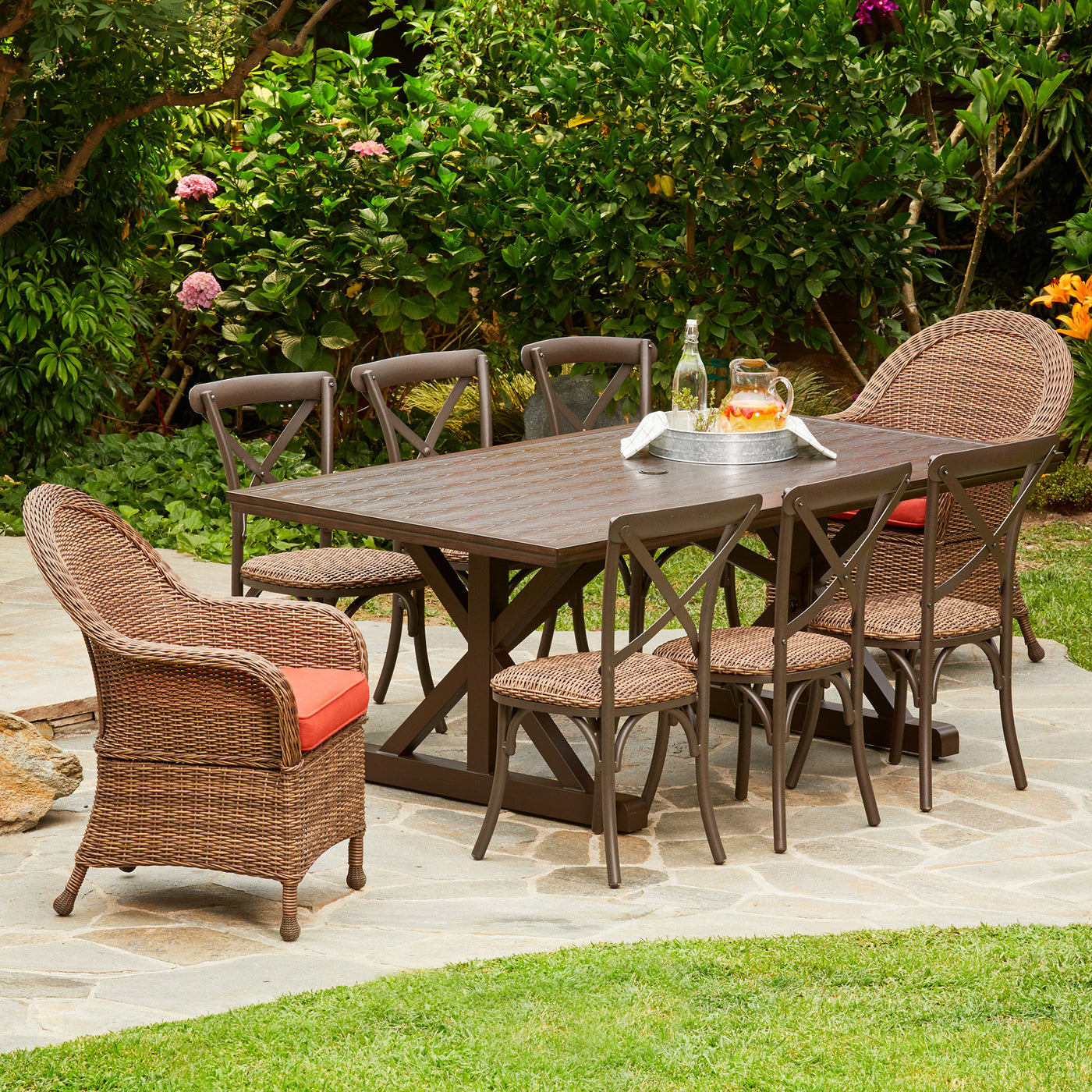 Etonnant Hacienda Heights 9pc Wicker Dining Set