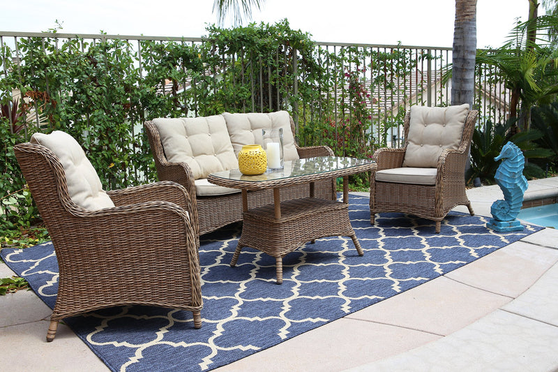 Canterbury 4pc Steel Wicker Seating Set
