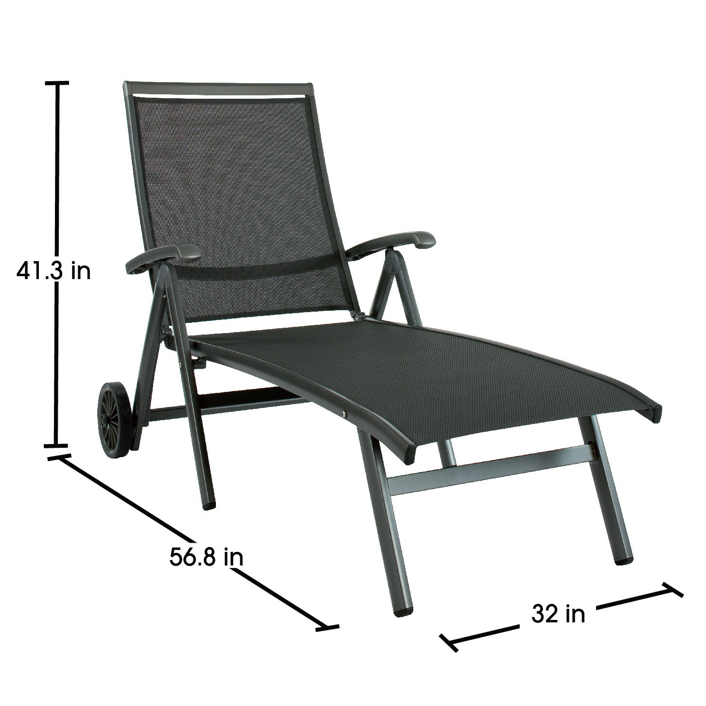 ... Ludwig Aluminum Sling Folding Patio Chaise Lounge With Wheels