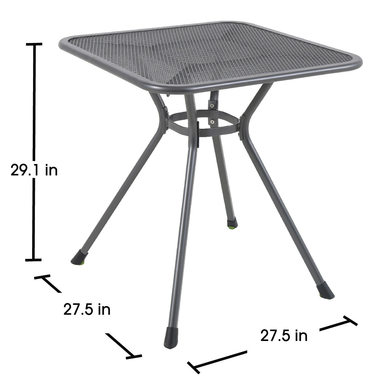 Ludwig Square Outdoor Bistro Table, Metal Mesh Top