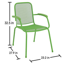Load image into Gallery viewer, Milo Metal Mesh Stacking Arm Chair (Green 4 pack)