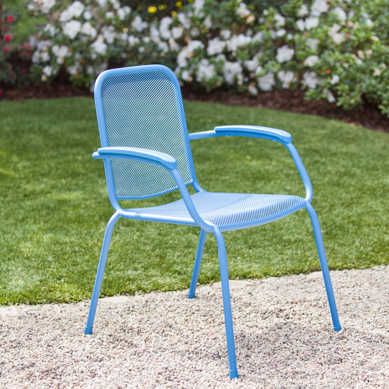 Milo Metal Mesh Stacking Arm Chair (Blue, 2-Pack)