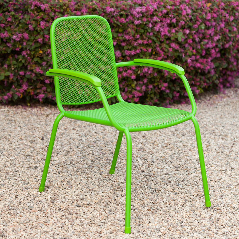 Milo Metal Mesh Stacking Arm Chair (Green 2 pack)