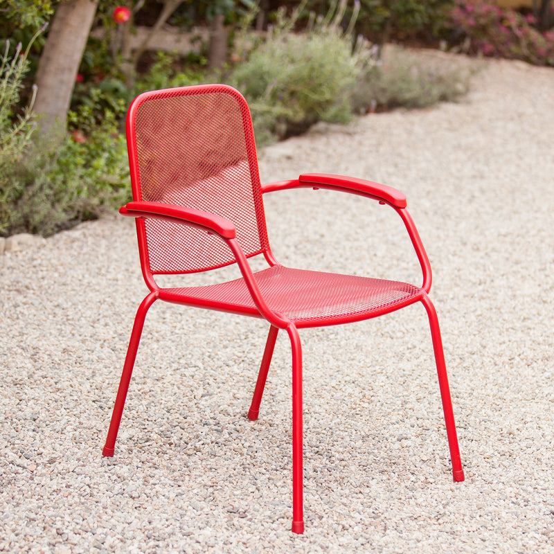 Milo Metal Mesh Stacking Arm Chair (Red, 2-Pack)