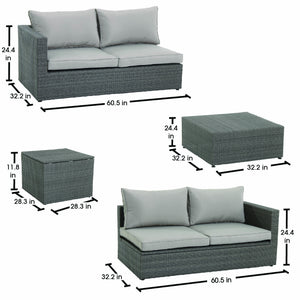 Nelson 4-Piece Patio Wicker Woven Sectional Set with Cushion Storage
