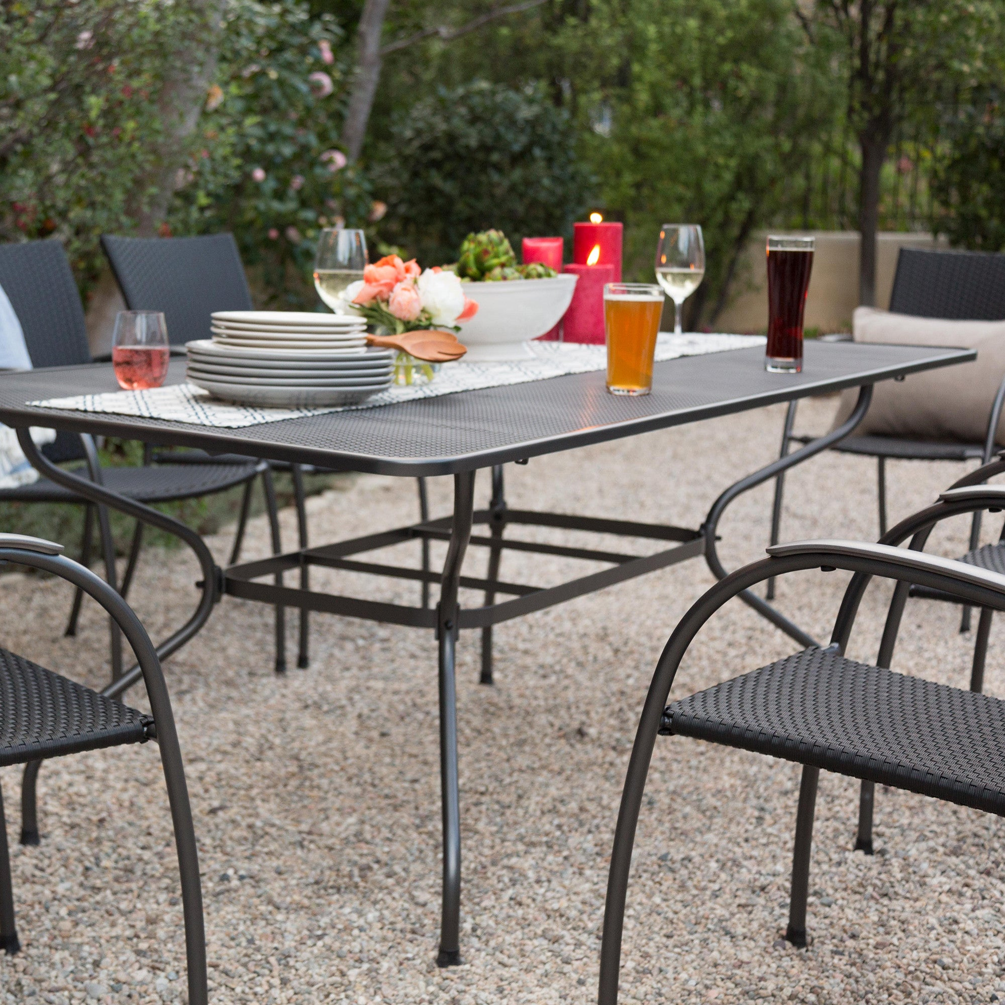 Ludwig Rectangle Patio Dining Table (seats Six), Metal Mesh Top