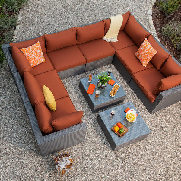 Becket 10pc Aluminum Woven Patio Sectional