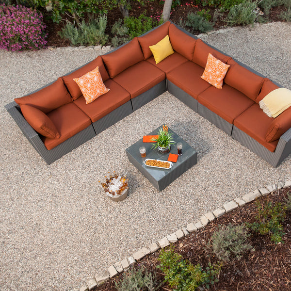 Becket 8pc Aluminum Woven Patio Sectional
