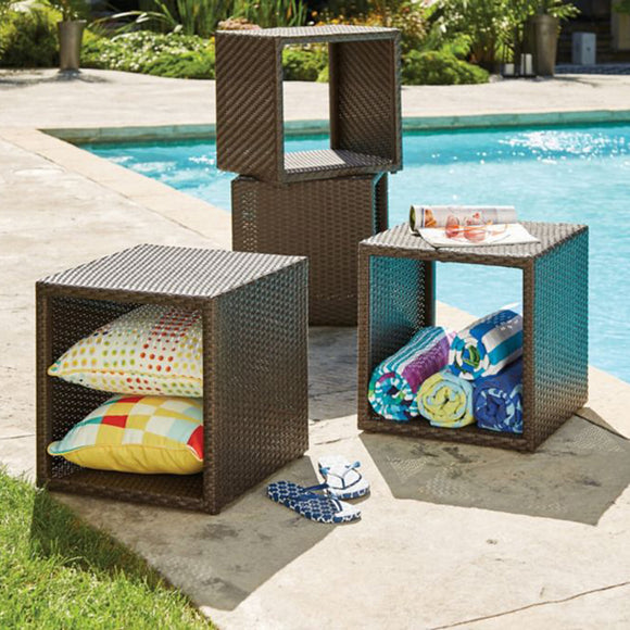 Decorative Woven Wicker Storage Cube
