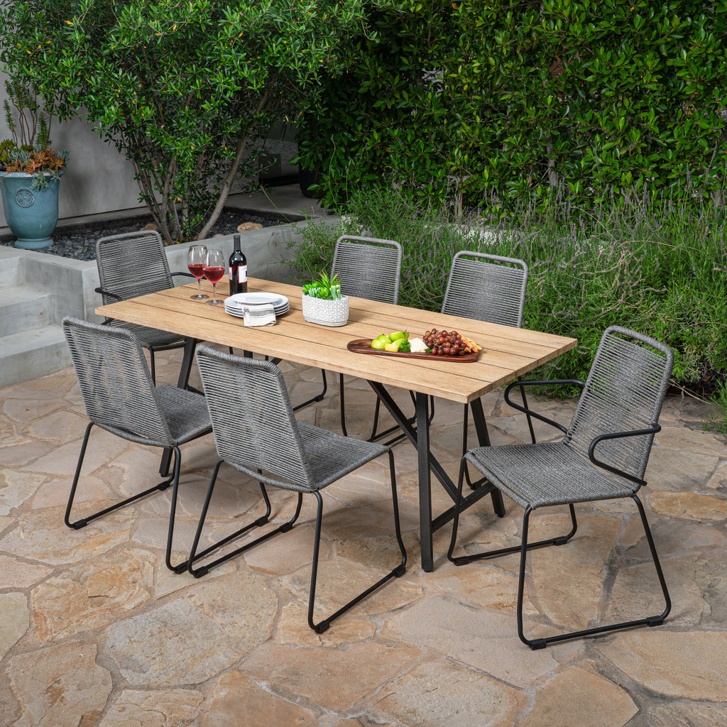 Linden Hills 7pc Eucalyptus and Rope Dining Set
