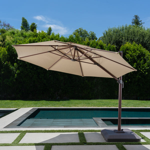 11' Wood Grain Aluminum Offset Umbrella