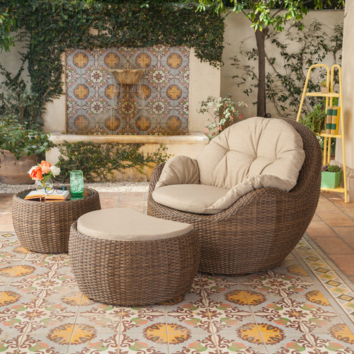 greta 3 pcs wicker seating Ottoman coffee table set