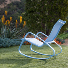 Load image into Gallery viewer, Eero Aluminum Outdoor Sling Rocking Chair (Blue)
