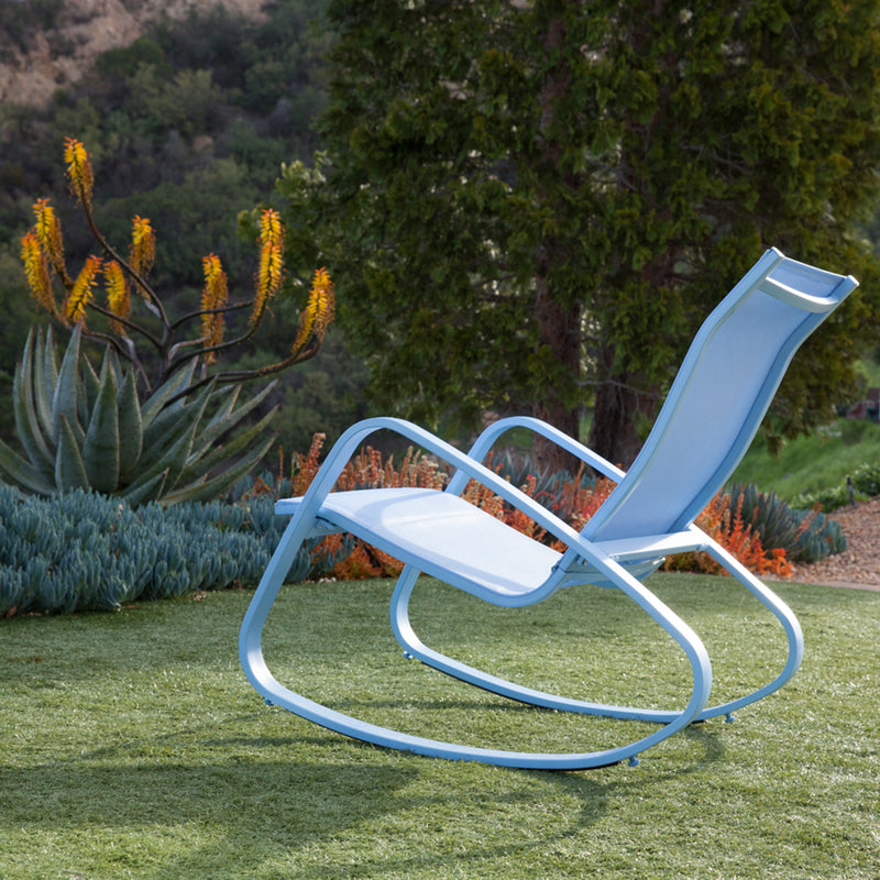 Eero Aluminum Outdoor Sling Rocking Chair (Blue)
