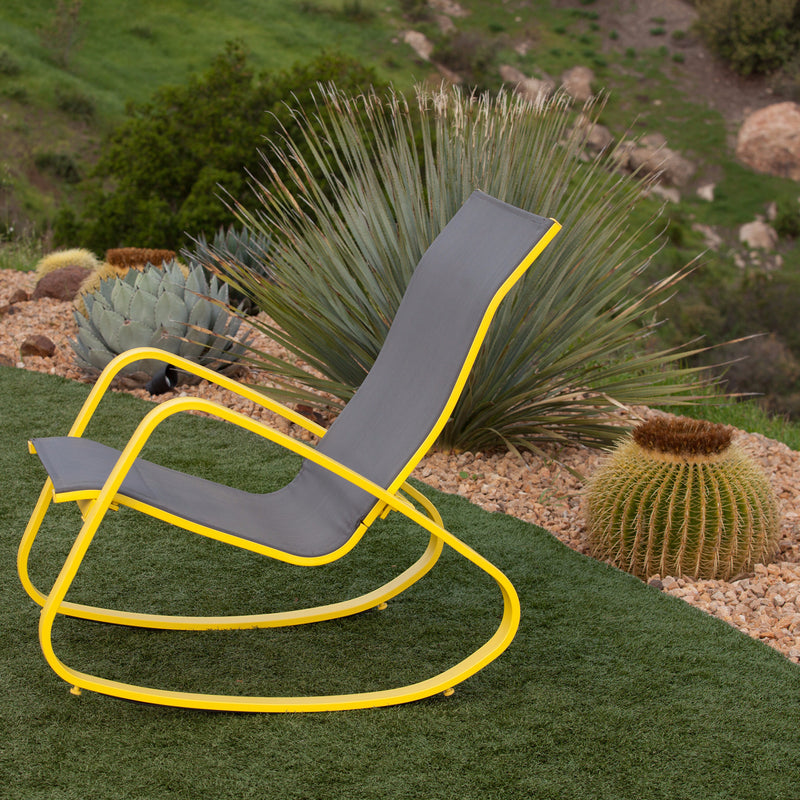 Eero Aluminum Outdoor Sling Rocking Chair (Yellow)