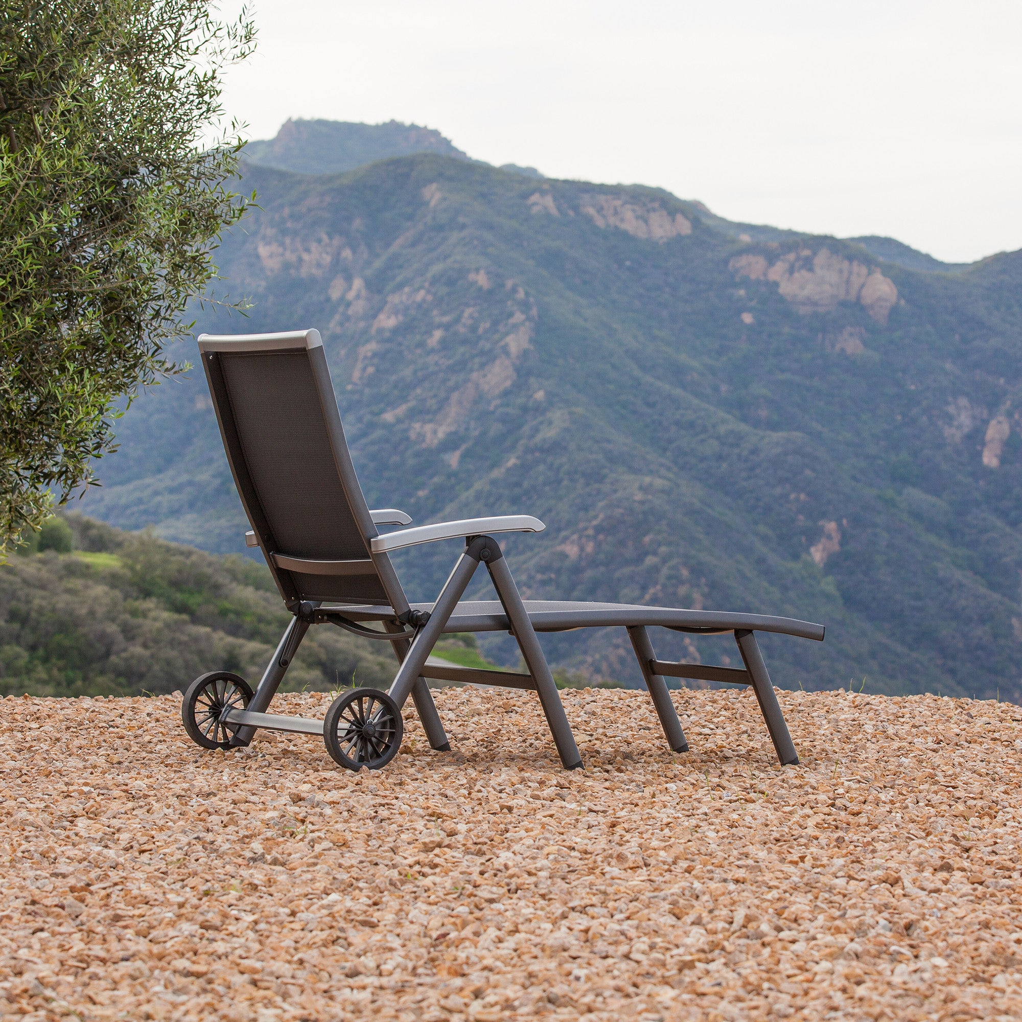 Folding patio lounge chairs - Ludwig Aluminum Sling Folding Patio Chaise Lounge With Wheels