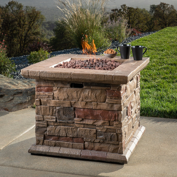 "32"" Faux Ledgestone Firepit Table"