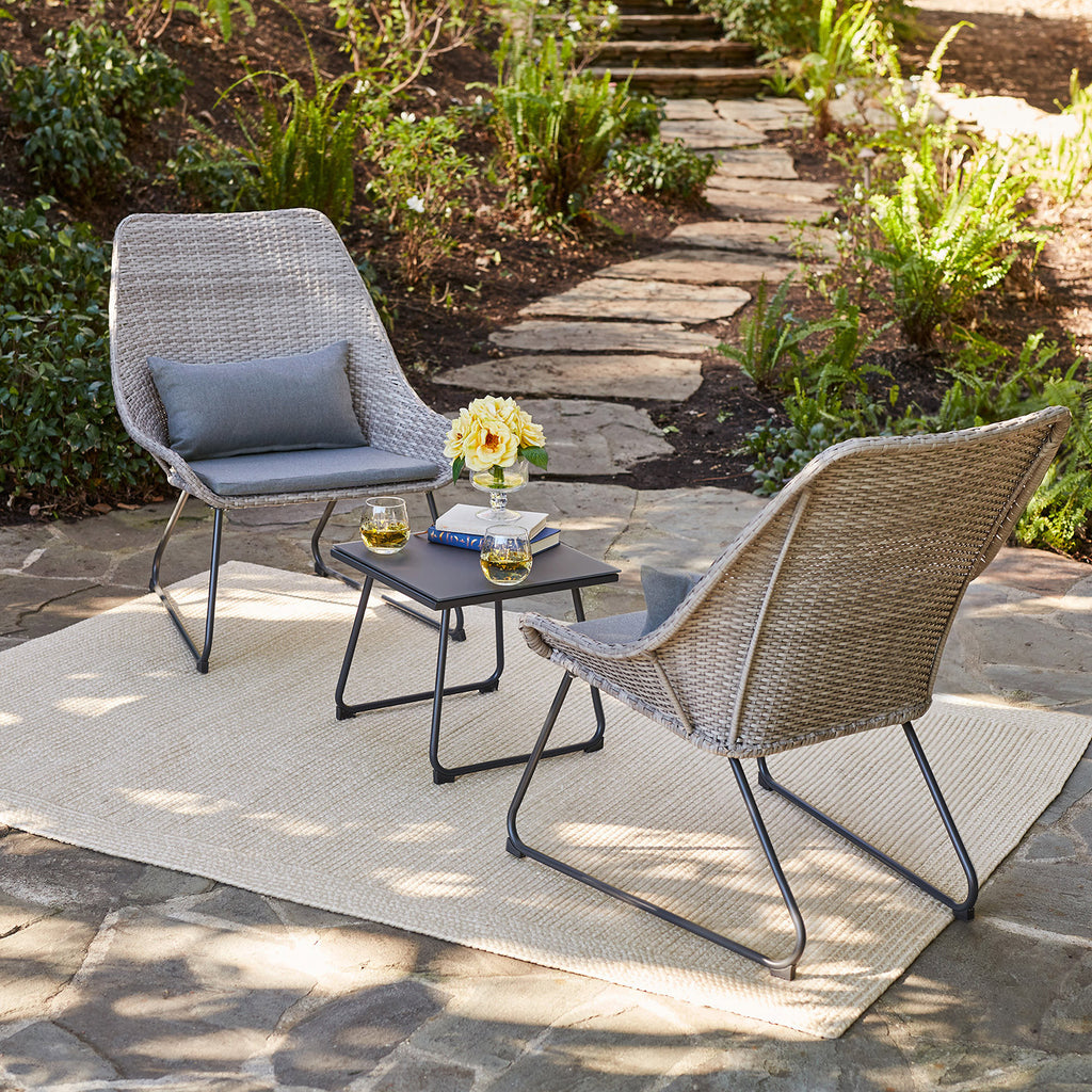 Urban Space Patio Wicker 3-Piece Chat Set with Cushions