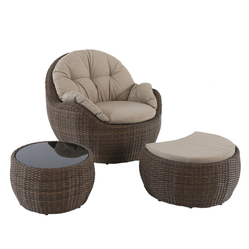 Greta outdoor lounge club cushioned chair ottoman coffee table set