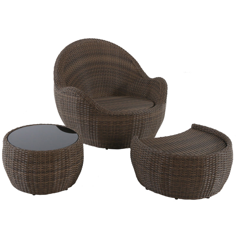 Greta outdoor lounge club chair ottoman coffee table wo cushions