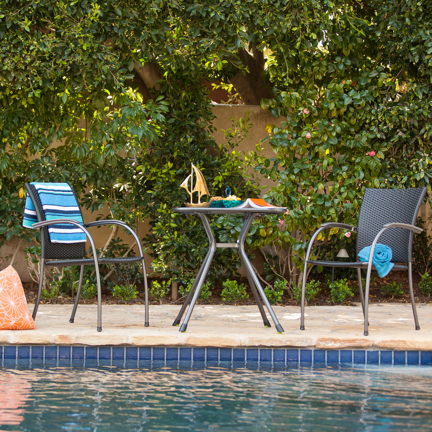 Ludwig 3 Piece Patio Bistro Set with Stacking Chairs Square Table