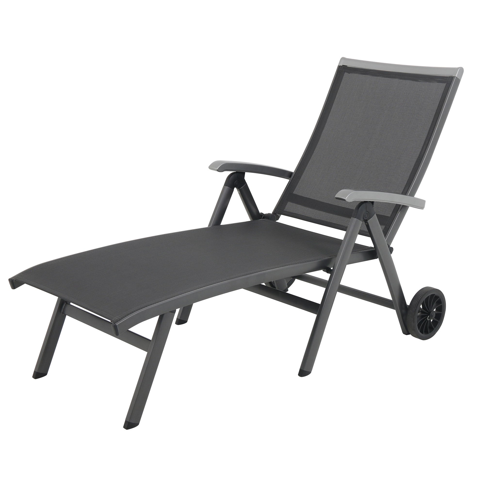 Royal garden ludwig aluminum folding chaise lounge chair for Aluminum chaise lounge with wheels
