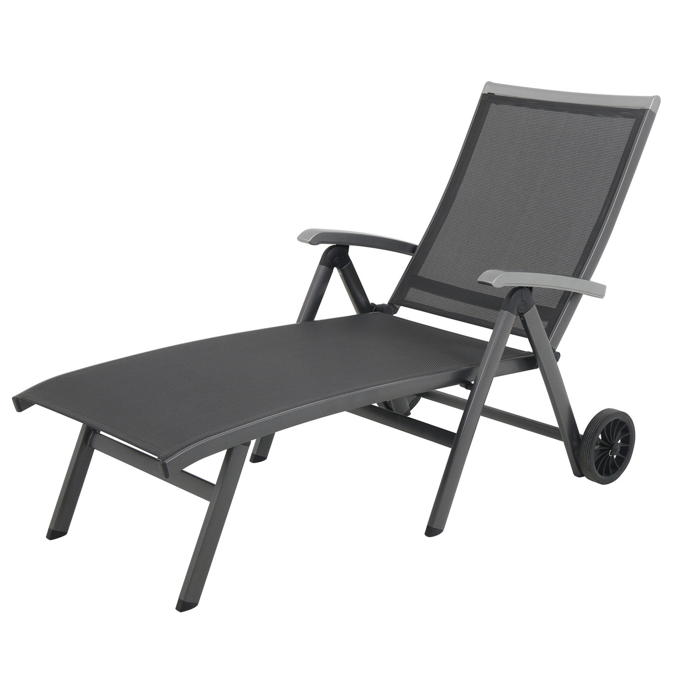 Ludwig Aluminum Sling Folding Patio Chaise Lounge With Wheels