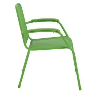 Milo Metal Mesh Stacking Arm Chair (Green 4 pack)