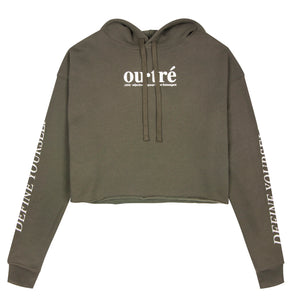 Outre Women's olive crop top hoodie