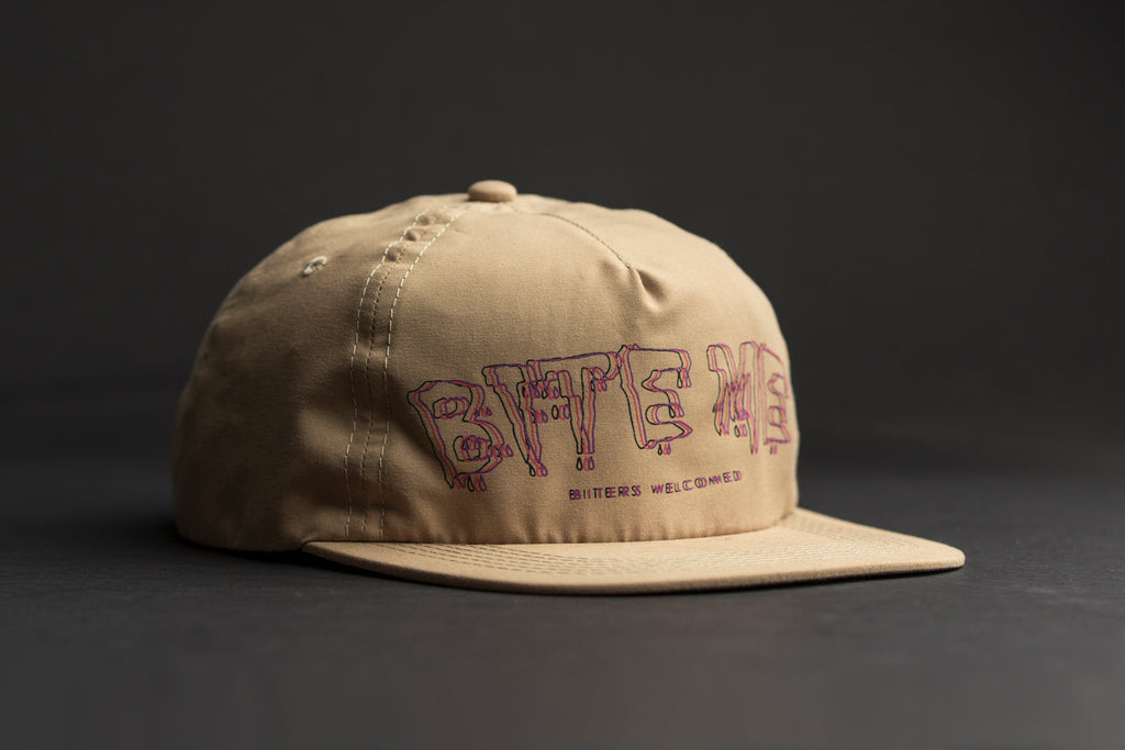 Outre bite me hat camel - unstructured 5 panel micro fiber hat