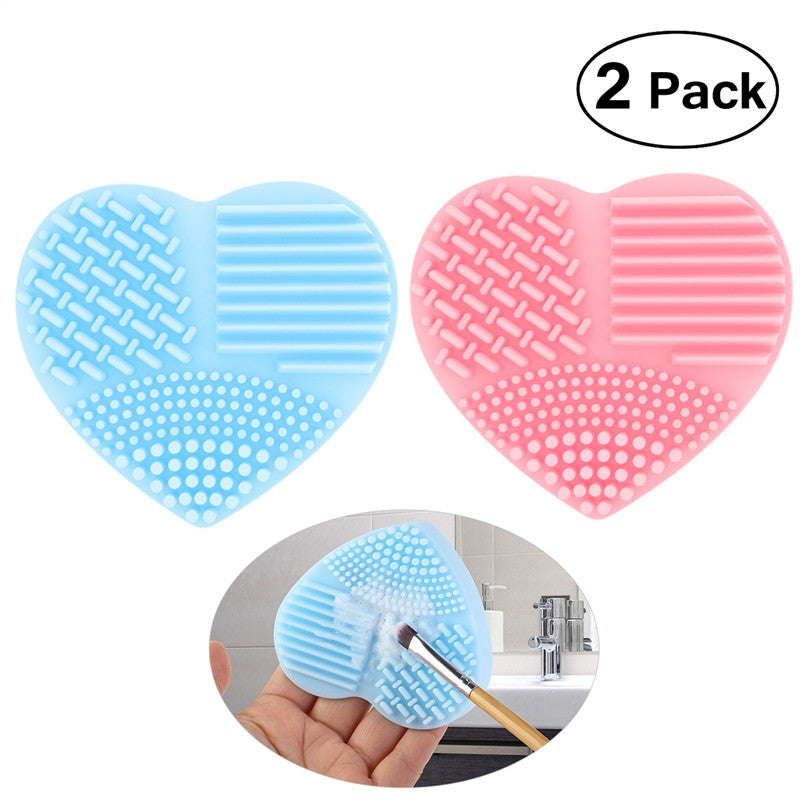 PIXNOR Makeup Brush Cleaner Silicone Heart-shaped Brush Egg Washing Tool Pink Blue