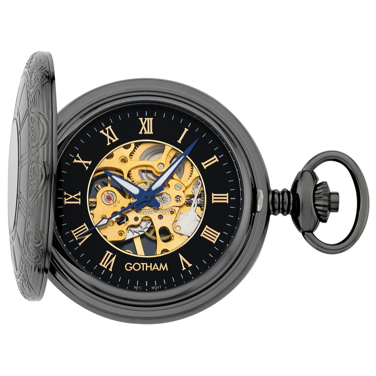 Gotham Men's Gun-Tone 17 Jewel Half Hunter Mechanical Pocket Watch # GWC14036BBK - Gotham Watch
