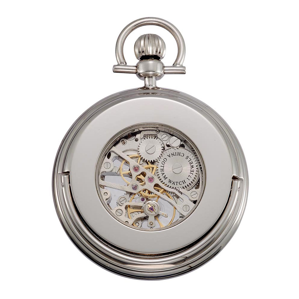 Gotham Men's Silver-Tone Mechanical Pocket Watch with Built-In Stand # GWC14055SB - Gotham Watch