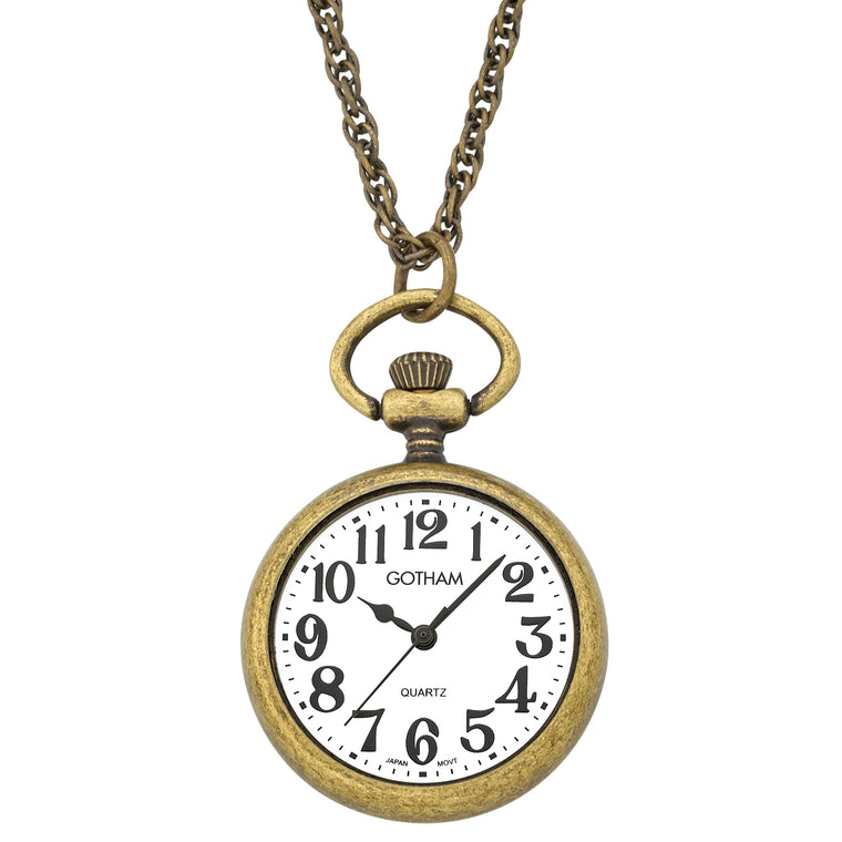 Gotham Women's Antique Gold-Tone Open Face Pendant Watch With Chain # GWC14136A