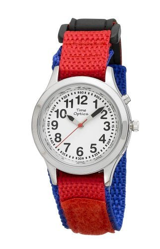 TimeOptics Boy's Talking Silver-Tone Day Date Alarm Fast Wrap Strap Watch # GWC304