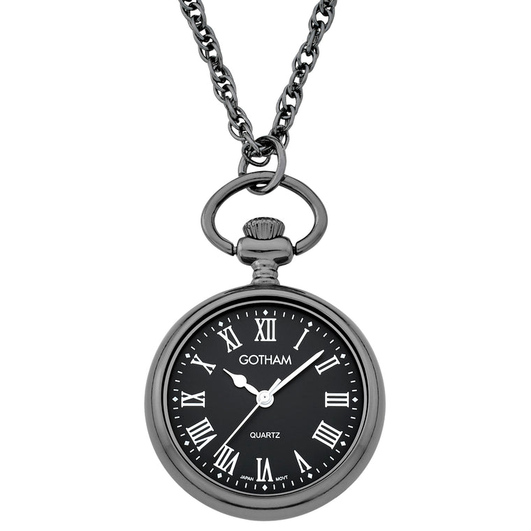 Gotham Women's Gun-Tone Open Face Pendant Watch With Chain # GWC14137BBR - Gotham Watch