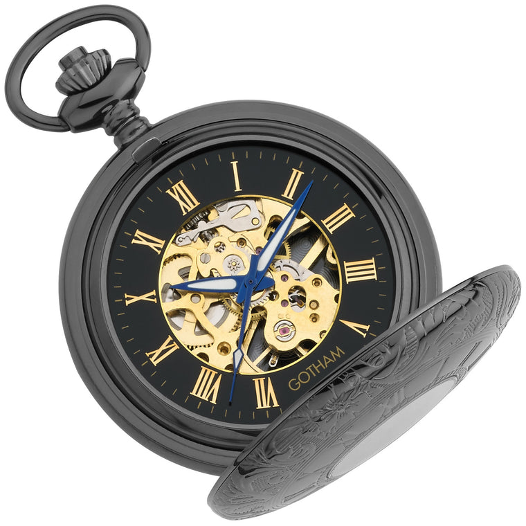 Gotham Men's Gun-Tone 17 Jewel Mechanical Double Half Hunter Pocket Watch # GWC14040BBK