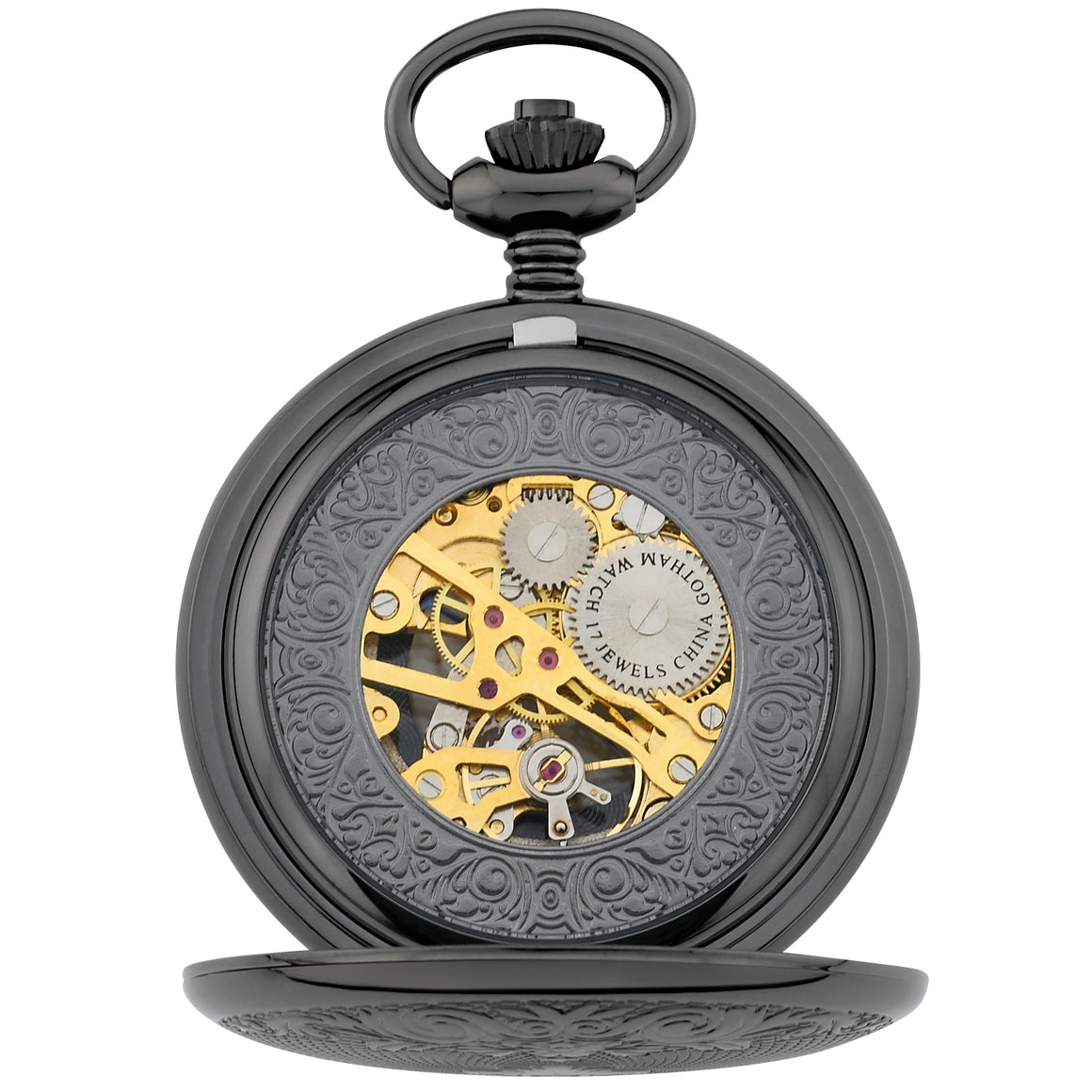Gotham Men's Gun-Tone 17 Jewel Mechanical Double Half Hunter Pocket Watch # GWC14040BBK - Gotham Watch