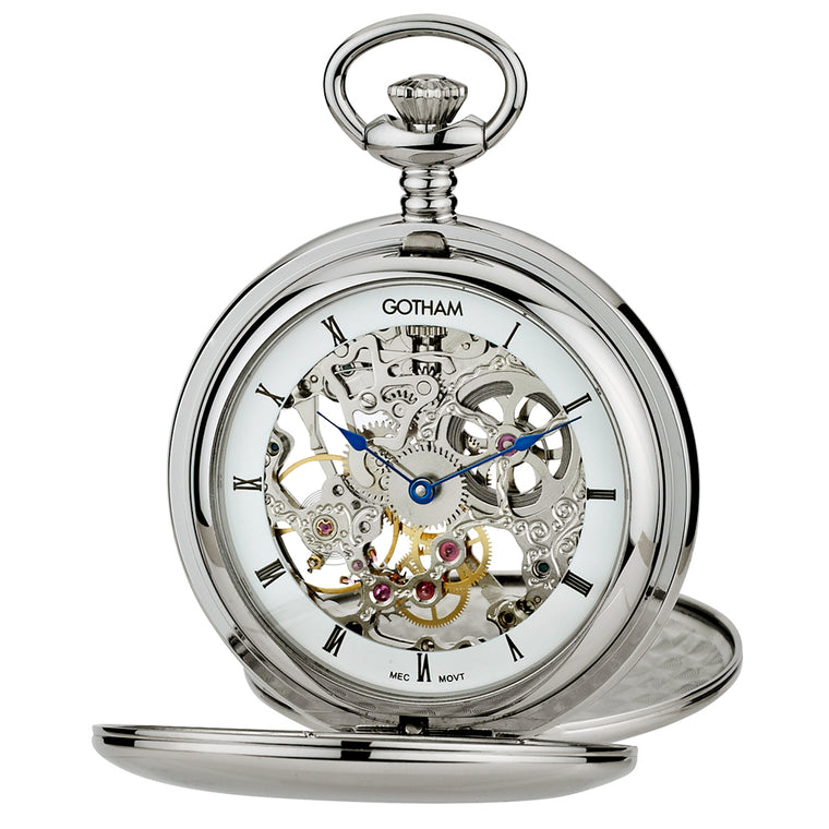 Gotham Men's Silver-Tone Mechanical Pocket Watch with Desktop Stand # GWC18804S-ST - Gotham Watch