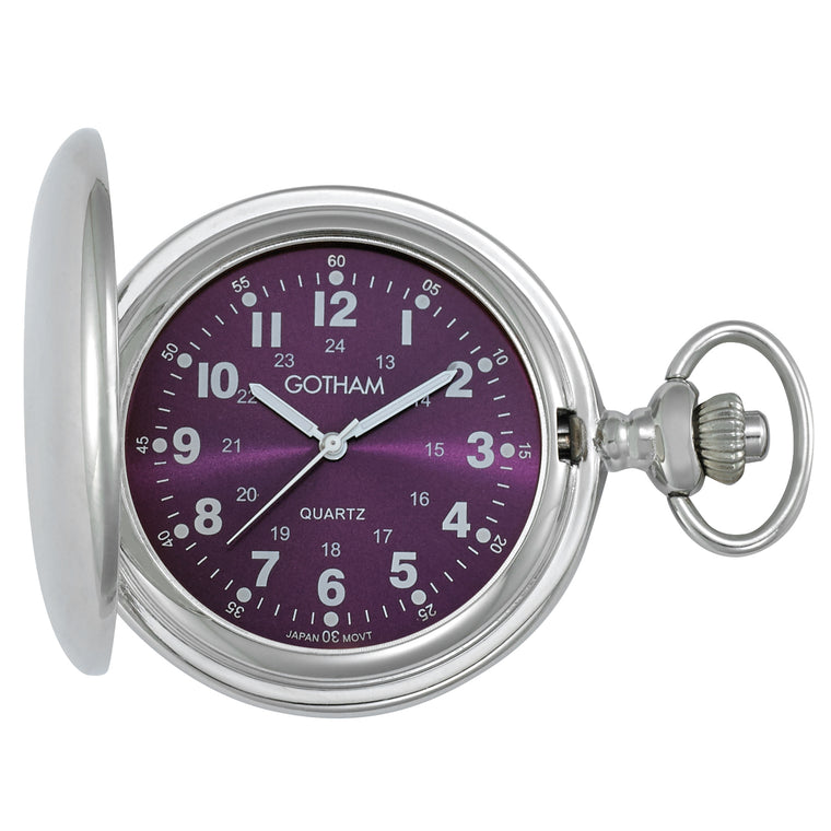 Gotham Men's Silver-Tone Polished Finish Covered Quartz Pocket Watch # GWC15042SP - Gotham Watch