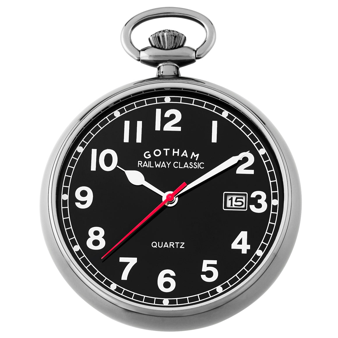 Gotham Men's Gun-Tone Analog Quartz Date Railroad Pocket Watch # GWC14101BBK - Gotham Watch