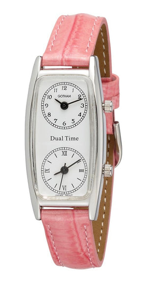 Gotham Women's Silver-Tone Dual Time Zone Leather Strap Watch # GWC15091SP