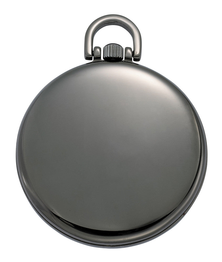 Gotham Men's Gun Metal Thin Railroad Open Face Quartz Pocket Watch # GWC15022BBK - Gotham Watch