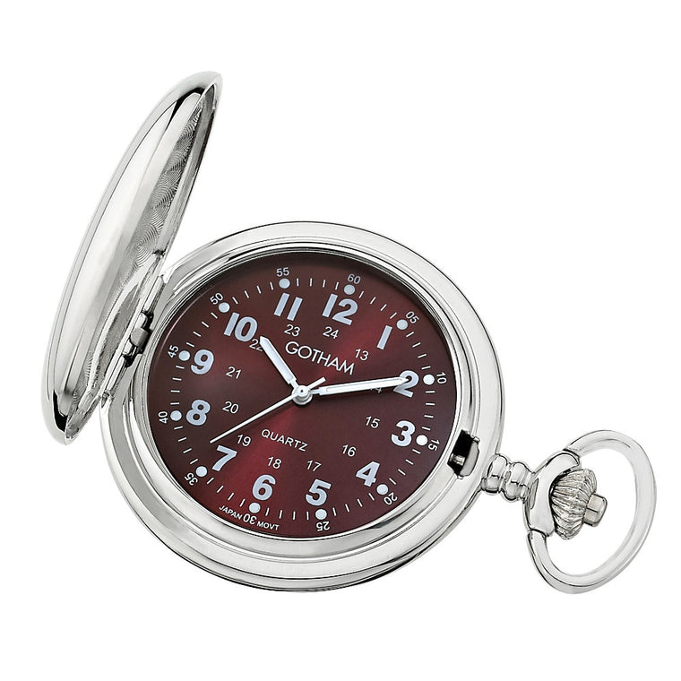 Gotham Men's Silver-Tone Polished Finish Covered Quartz Pocket Watch # GWC15042SM - Gotham Watch