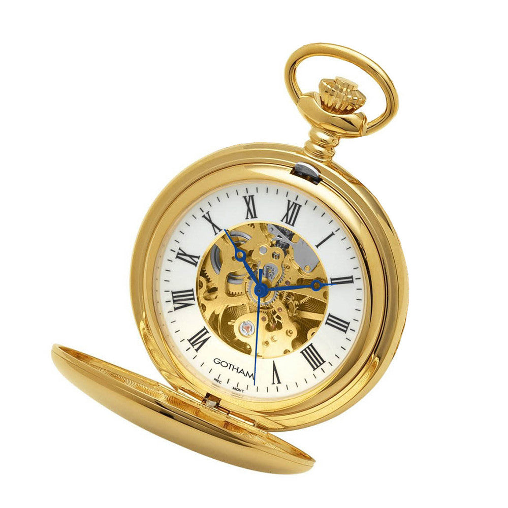 Gotham Men's Gold-Tone 17 Jewel Mechanical Double Cover Pocket Watch # GWC14050G - Gotham Watch