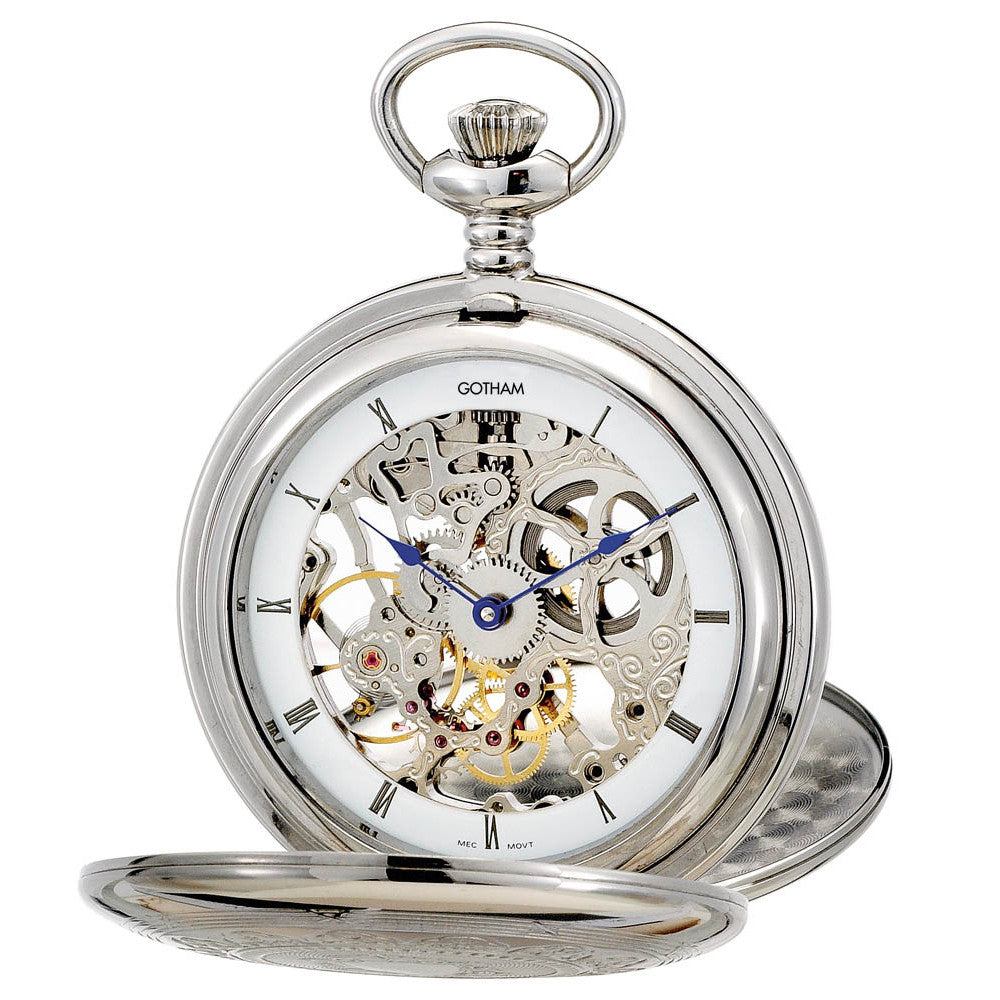 Gotham Men's Silver-Tone Double Cover Exhibition Mechanical Pocket Watch # GWC18801S - Gotham Watch
